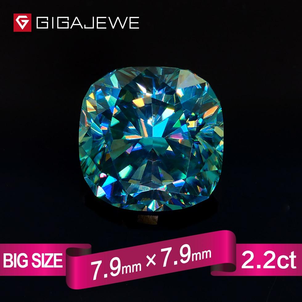 GIGAJEWE отличное качество большой Размеры с голубой синий цвет 2.2ct подушки Муассанит свободно камень химическое бусы для изготовления ювелирн