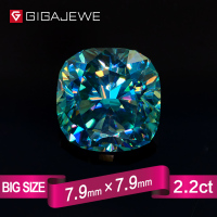 GIGAJEWE Excellent Quality Big Size Cut Cyan Blue color 2.2ct Cushion Moissanite Loose Stone Synthetic Beads for jewelry making