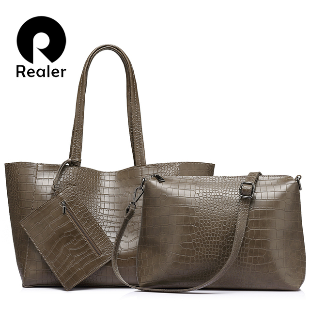 REALER brand fashion women artificial leather shoulder bags ladies totes spring new large capacity composite Bag women handbags