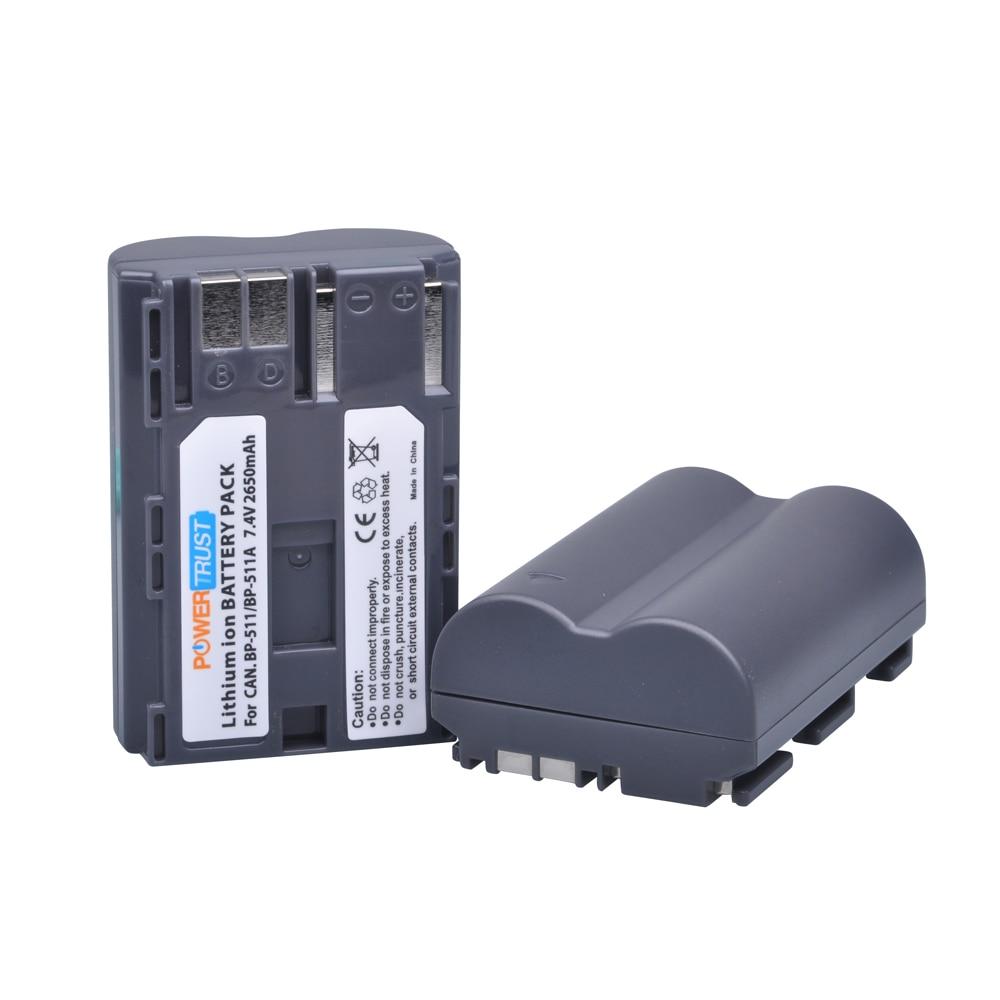 Vereinigt 2 Stücke 2650 Mah Bp-511 Bp-511a Kamera Batterie Bp511 Bp 511 Für Canon Eos 40d 300d 5d 20d 30d 50d 10d D60 G6 Bp 511a Wasserdicht Stromquelle StoßFest Und Antimagnetisch