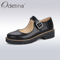 Odetina 2017 Fashion Handmade Womens Oxfords Flats Buckle Ankle Strap Mary Jane Flat Shoes Retro Vintage