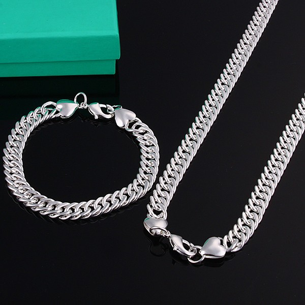 Hot sale promotion fashion jewelry sets 925 stamped Silver argent jewelry 10mm men's necklace and bracelet 2pcs