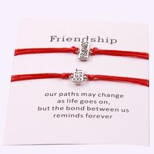2pc/set Fashion Couple Cardboard Bracelet Wireless Red Rope Adjustable String Bracelets Women Mens Wish Jewelry Gift
