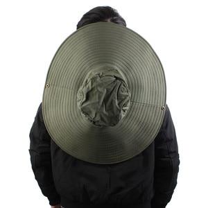 Image 4 - 16cm Long Wide Brim Sun Hat Breathable Safari Hat Men Women Boonie Hat Summer UV Protection Cap Hiking Fishing Bucket Hat Beach