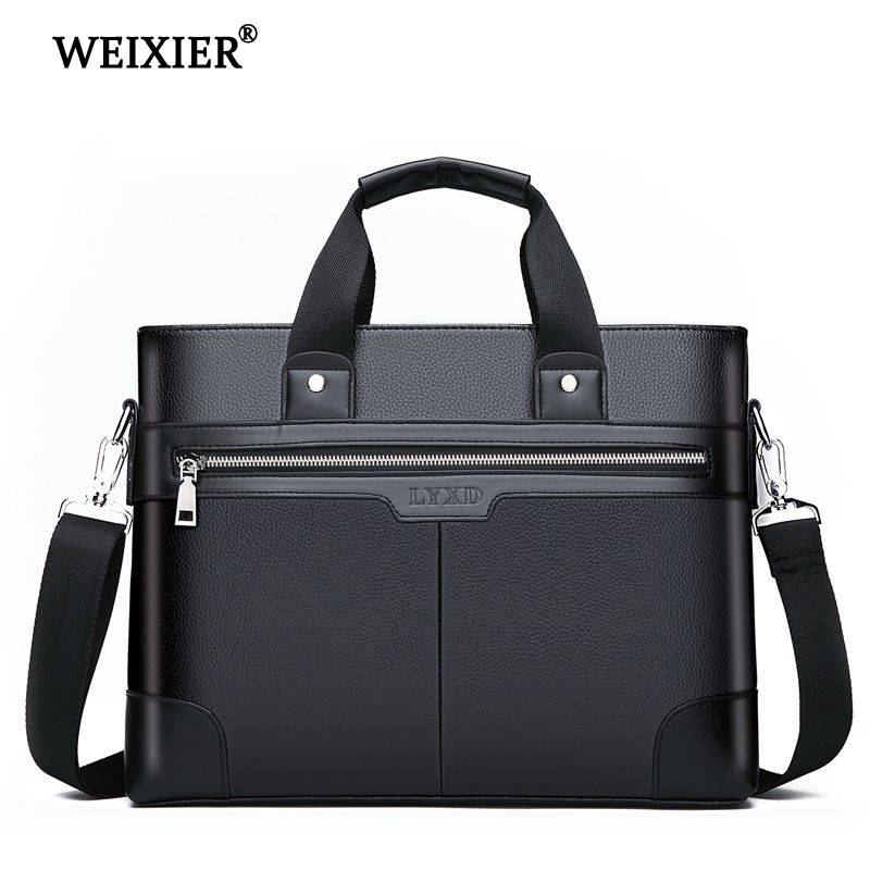 WEIXIER Men PU Leather Shoulder Fashion Business Bags Handbags Black Bag Men For Document Leather Laptop Briefcases Bag