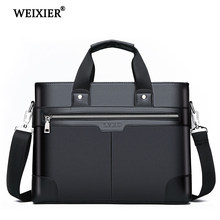 WEIXIER Men PU Leather Shoulder Fashion Business Bags Handbags Black Bag Men For Document Leather Laptop Briefcases Bag(China)