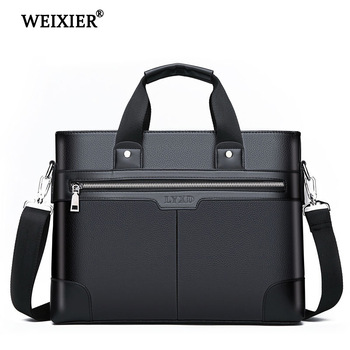 WEIXIER Men PU Leather Shoulder Fashion Business Bags Handbags Black Bag For Document Laptop Briefcases