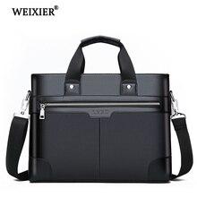 WEIXIER الرجال بولي PU جلدية الكتف موضة حقائب عمل حقائب سوداء حقيبة الرجال للحصول على وثيقة حقيبة كمبيوتر محمول حقيبة