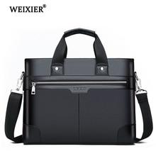 WEIXIER sacs à bandoulière en cuir PU noir homme, sacoche Business Fashion, sacoche porte documents pour ordinateur portable