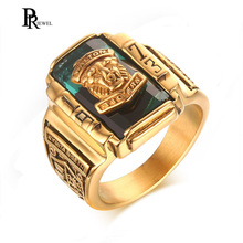 Gold Tone Stainless Steel Colorful Rhinestone 1973 Walton Tigers Signet Rings for Men Male