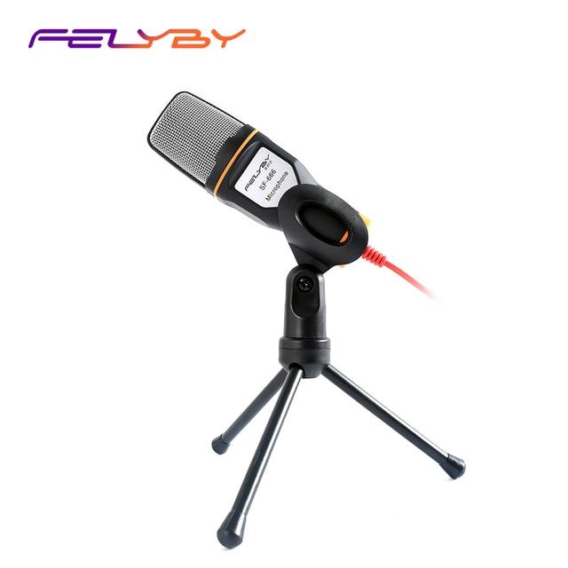 Felyby SF666 プロフェッショナルコンデンサー録音カラオケマイク pc/ラップトップ/電話 3.5 ミリメートルのデスクトップ microfone