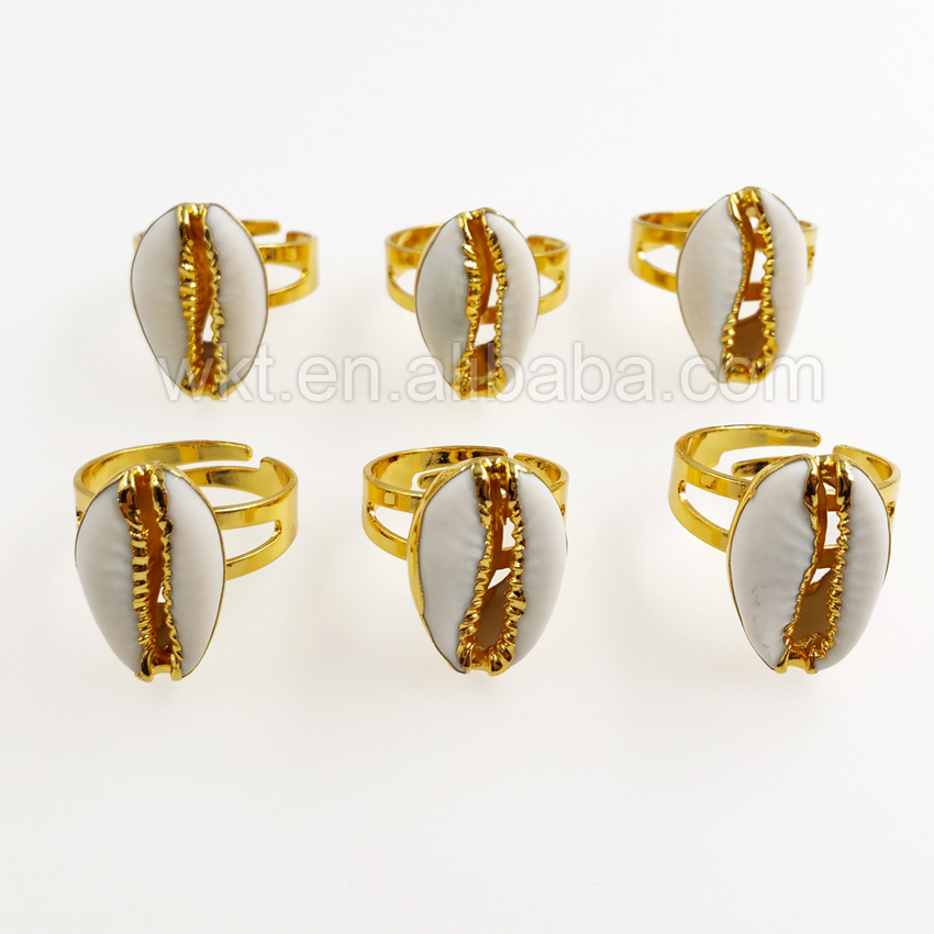WT R249 새로운 금색과 은색 cowry 반지, 여자를위한 도매 10 pcs 자연 cowrie 쉘 반지 여자 선물 조정 가능한 크기-에서반지부터 쥬얼리 및 액세서리 의  그룹 1