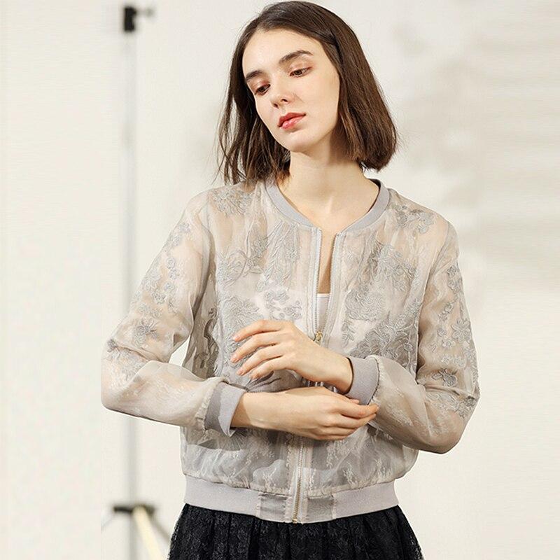 Kadın Giyim'ten Basic Ceketler'de 100% Ipek Organze Ceket Kadın Güneş Koruyucu Giyim Nakış Hafif Kumaş Uzun Kollu 3 Renkler Kısa Ceket Moda 2019'da  Grup 2