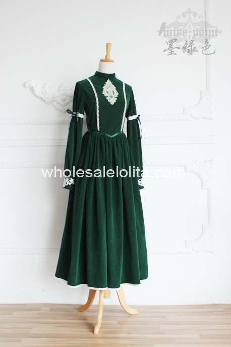 Высококачественное винтажное платье в стиле королевского двора, современное платье в викторианском стиле - Цвет: Зеленый