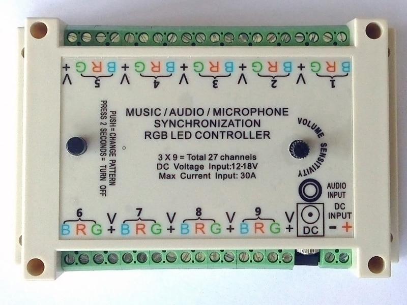 Muziek Sync controller, geluid actief, geluid om licht, audio activeren, 3*9 groepen = 27 kanalen, DC 12 V voor gemeenschappelijke anode armaturen.