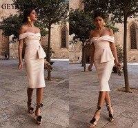 2018 Champagne Short Satin Cocktail Dresses Plus Size Off Shoulder Knee Length Cheap Simple Arabic Formal Evening Party Dress