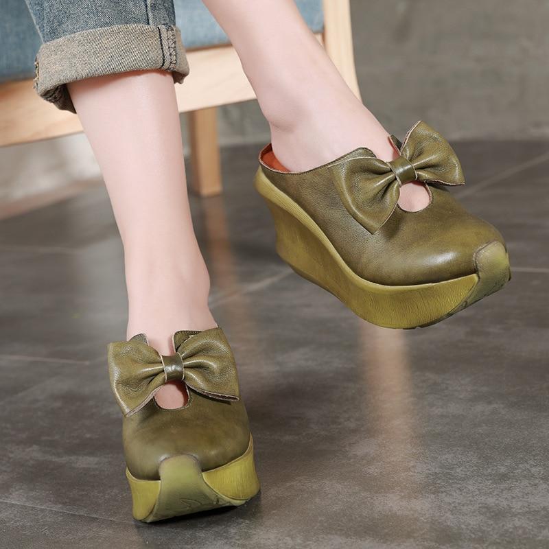 Gris Tacón Mujer Verano De Bowtie Cuñas Cuero Plataforma Alto Mujeres Mano Las Diapositivas verde Hecho Cómoda Pies Genuino Ronda Sandalias Zapatos Vaca A Los Piel Dedos 7SqZww
