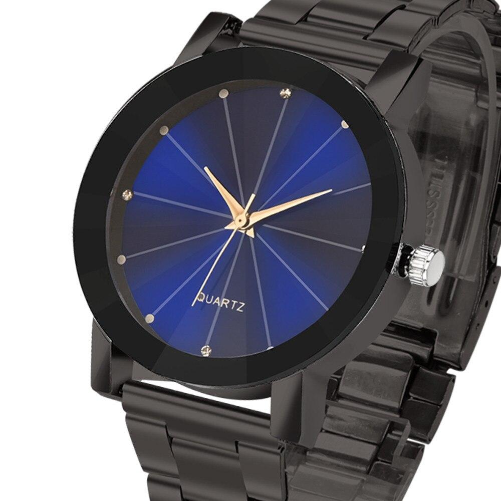 2018 Stainless Steel Fashion men watches Business complete Fashion Man Women Crystal Analog Quartz Wrist Watch