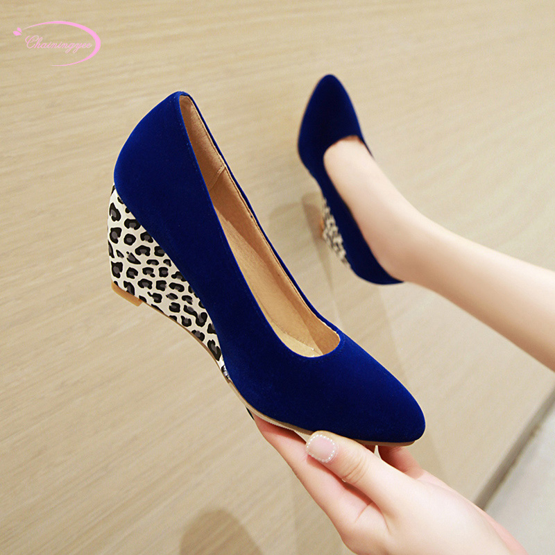 Chinese street style comfortable round toe pumps fashion leopard slip-on black blue beige wedges high heels women shoes