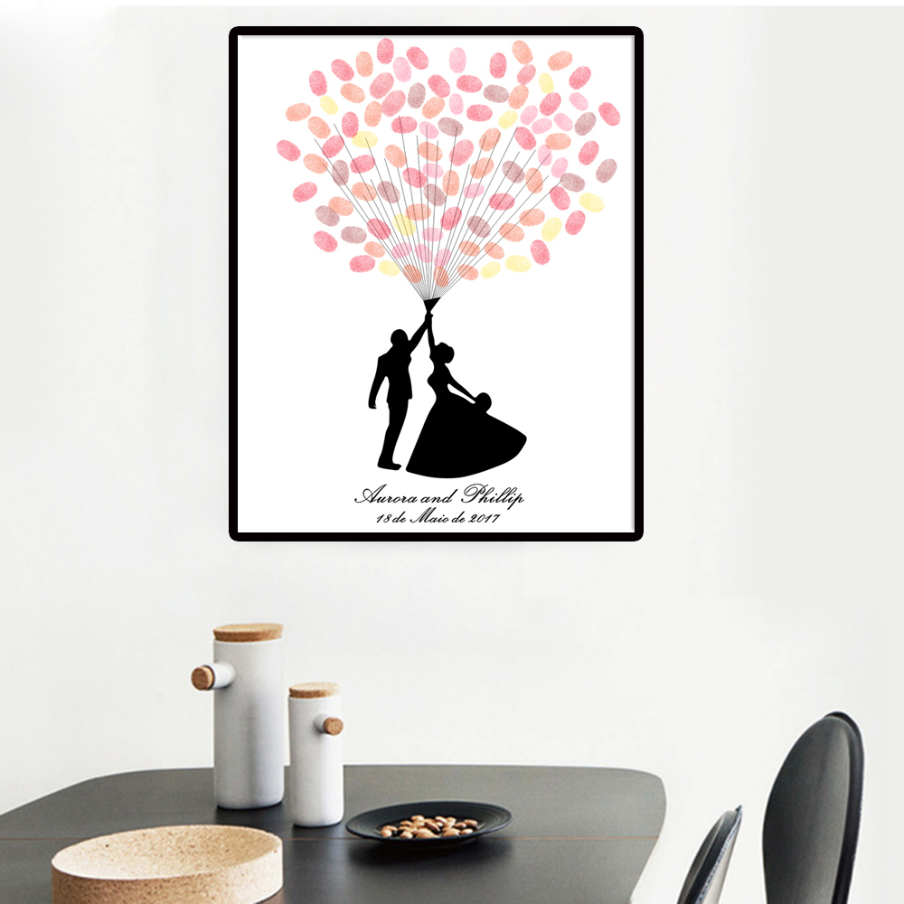 Personalized Wedding Guest Book.Personalized Wedding Fingerprint Tree Canvas Painting Guest Book Wedding Gifts Heart Wedding Guest Book Canvas Painting