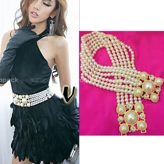 Designer Luxury Fashion Women Faux Pearl 6 Layer Rhinestone Elastic Wide Belt Free Shipping