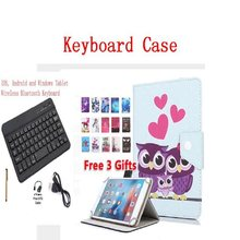 Bluetooth Keyboard Case for Universal Tablet 9.7 inch 10 inch 10.1 inch Tablet PC Magnetic Cartoon Print Stand PU Leather Cover(China)