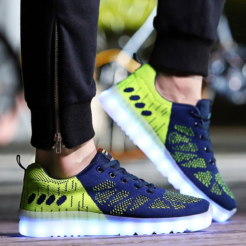 Men's LED Running Shoes Brand Sport Shoes Outdoor Runner Sneakers Running Shoes For Men Led Sneakers Running Shoes Free Shipping glowing sneakers usb charging shoes lights up colorful led kids luminous sneakers glowing sneakers black led shoes for boys