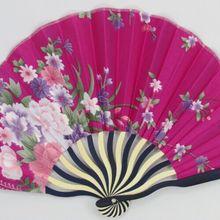10pcs 22*29cm floral style hot pink Fabric Shell Hand Fan La