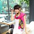 Женщины осень зима стиль печать подсолнухи шарф шарфы шифоновый шарф роуз-красный 6 цветов