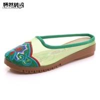 Wegogo Women Slippers Gauze Cotton Flower Embroidered Linen Slide Slippers Summer Vintage Ladies Canvas Flat Sandals