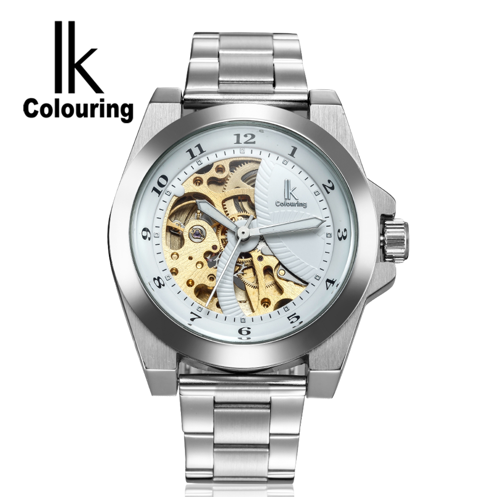 ФОТО IK Stainless Steel Men's Skeleton WristWatch Antique Steampunk Casual Automatic Skeleton Mechanical Watches Male