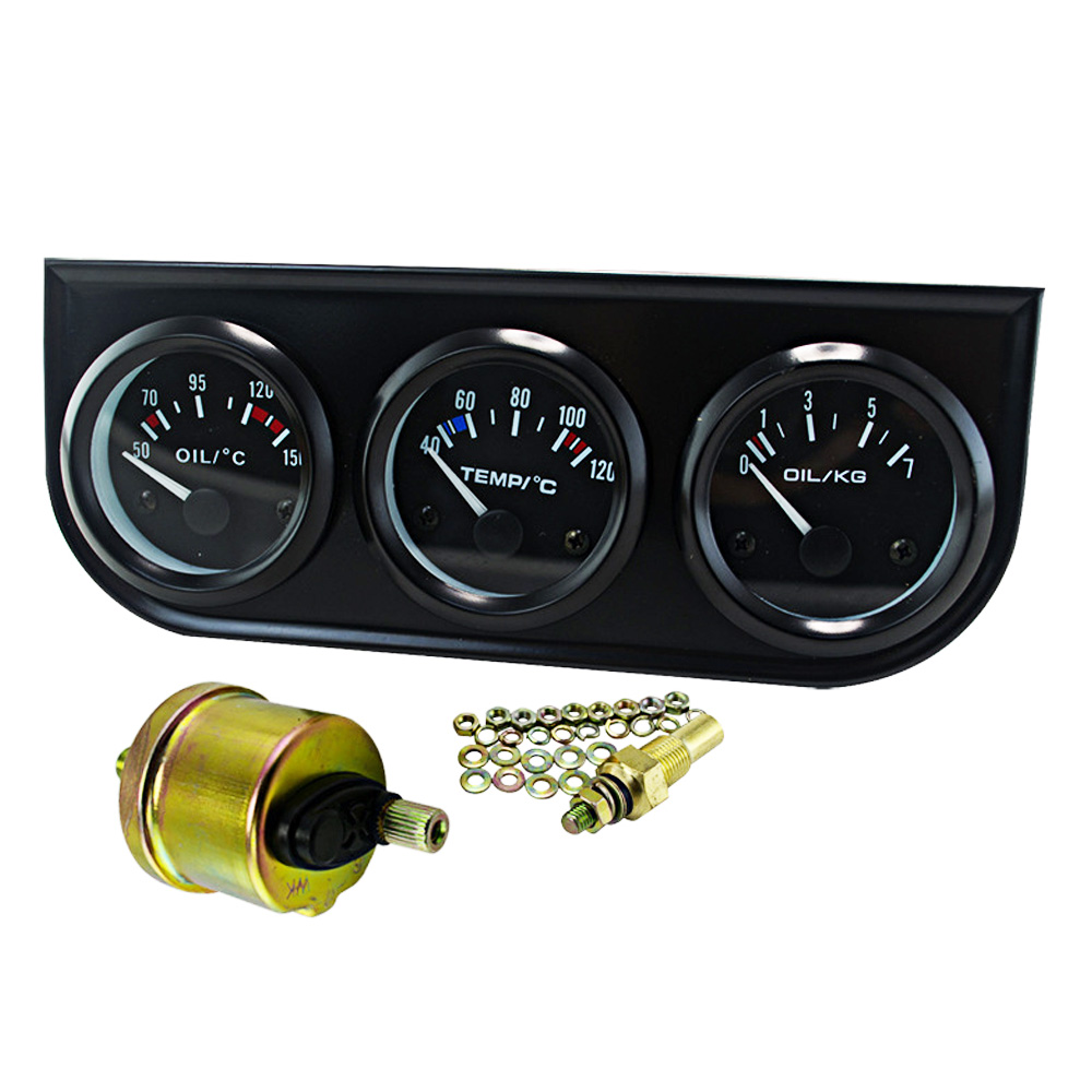 52MM 12V Triple Kit Oil Temp Water Temp Temperature Oil Pressure Gauge Meter with Sensor for Car in Oil Pressure Gauges from Automobiles Motorcycles