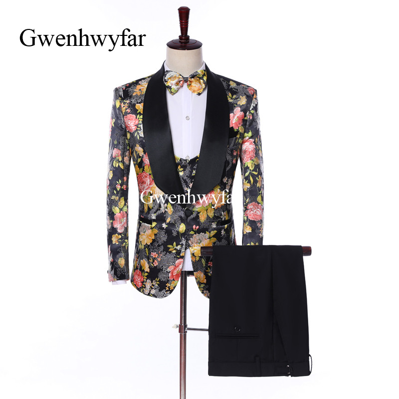 Gwenhwyfar Brand New Wedding Mens Suit Flower Patterns Suit For Men Slim Fit Groom Tuxedo Blazer Sets Costume Homme Mariage Wear