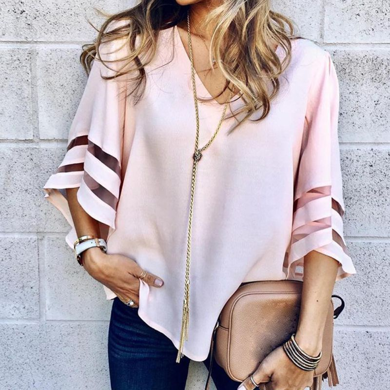 HTB1snGwB8mWBuNkSndVq6AsApXam - Summer streetwear style women cute chiffon blouses casual flare sleeve shirts white loose tops patchwork mesh shirts