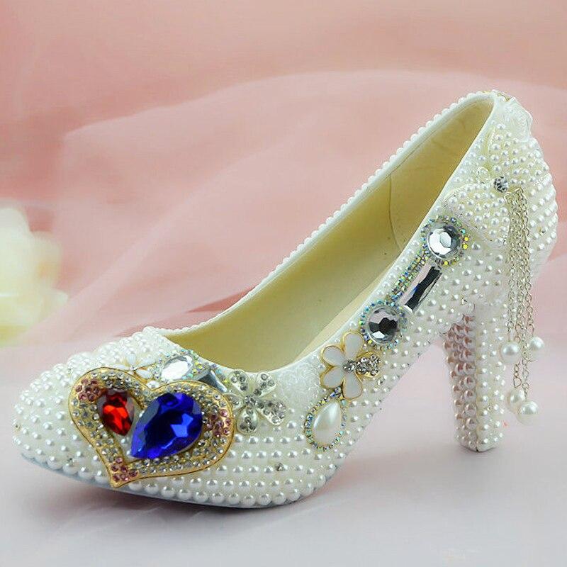 Дизайнерская обувь; женские туфли лодочки; женские пикантные туфли со стразами; белые женские свадебные туфли на высоком каблуке с цветочным узором - 3