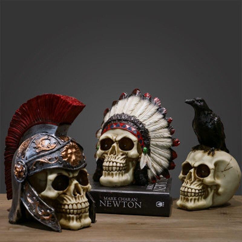 Creative Skeleton Horror Props Halloween Decoration Skull Resin Craft Home Ornaments Statue Skull Sculpture Furnishing Articles
