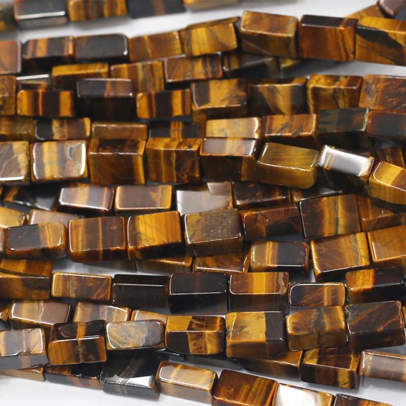 8c85755afe30 Genuino natural amarillo Tigre ojo cuadrado rectángulo forma suelta piedra  Cuentas joyería apta DIY Collares o pulseras 15 03745