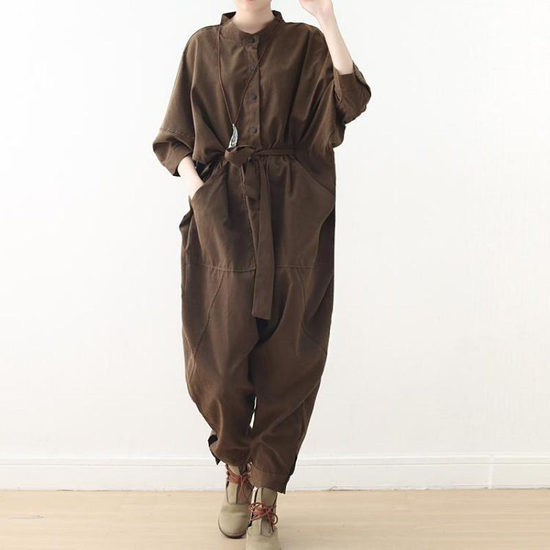 Johnature Safari Style Jumpsuits Full Length Loose Solid Sashes Pockets Button 2019 New Spring Summen Cotton