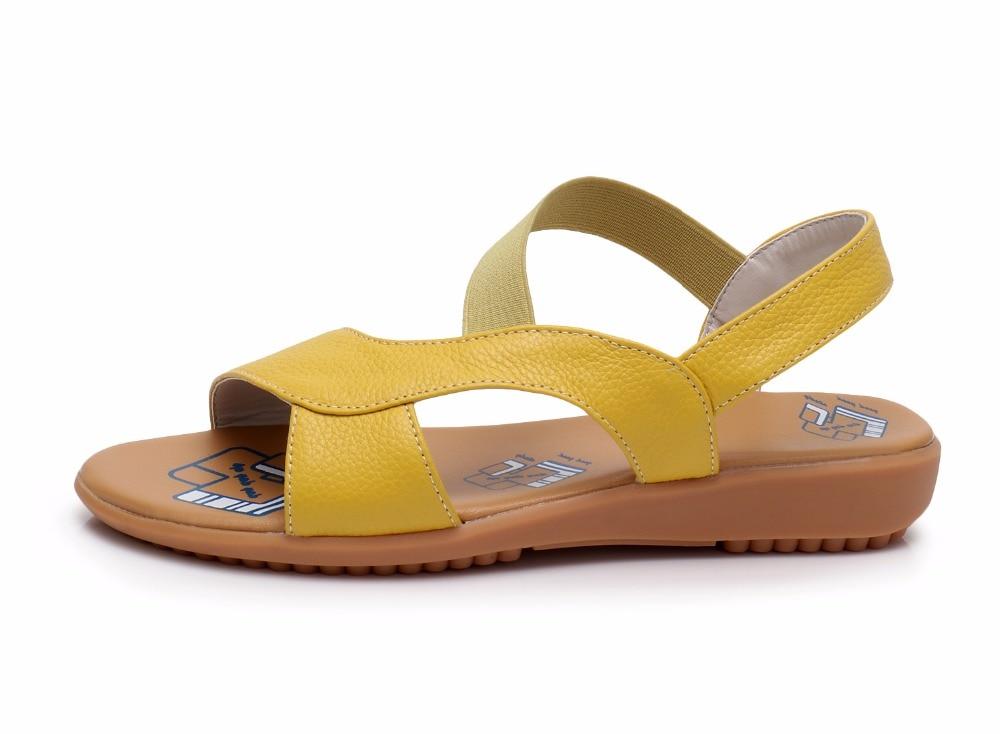 Image 2 - BEYARNE Cow Genuine Leather Sandals Women Flat Heel Sandals Fashion Summer Shoes Woman Sandals Summer Plus Size 34 43Low Heels   -