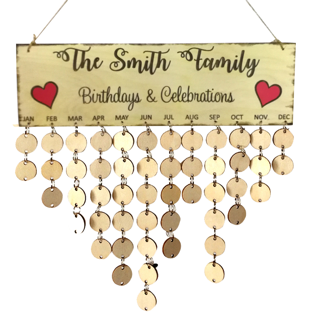 The Smith Family Words Hanging DIY Wooden Calendar Kalendar Reminder Board Plaque Home Decor Pendant Colorful