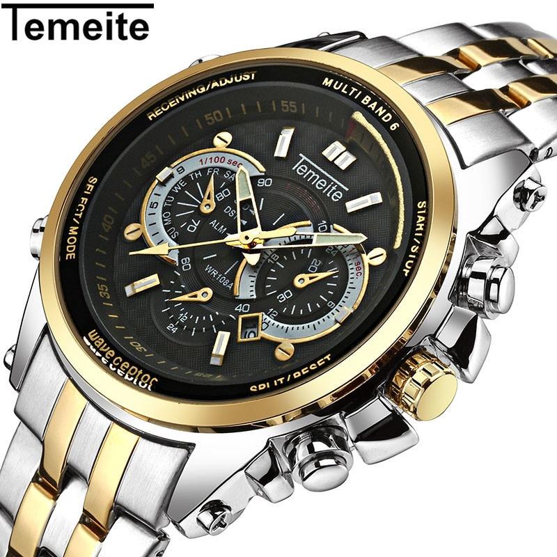 Montres de luxe hommes 316L en acier inoxydable quartz mens watch or noir sport étanche calendrier lumineux homme montres