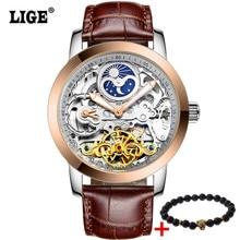 LIGE 2017 nouveau sport horloge hommes de montre automatique squelette montre mécanique montre hommes de Montre montre de cadeau hommes Relojes