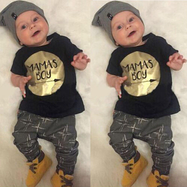 Baby Boys Newborn Cotton Jumper Shirt Tops+Pants 2pcs MAMAs Boy Clothes Outfits Set