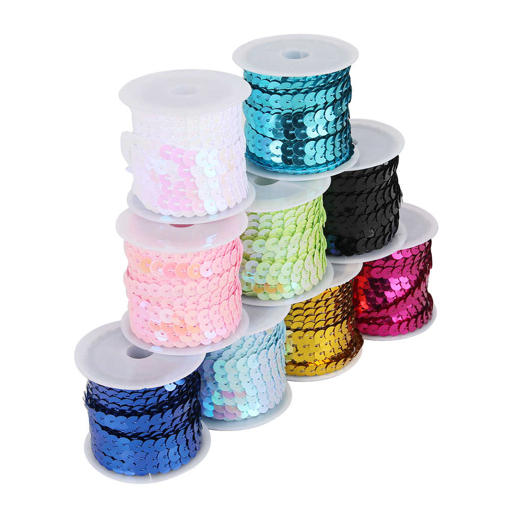 DIY 6mm Faceted Round Loose Sequins Paillettes Bag Sewing Decor Wedding Craft#