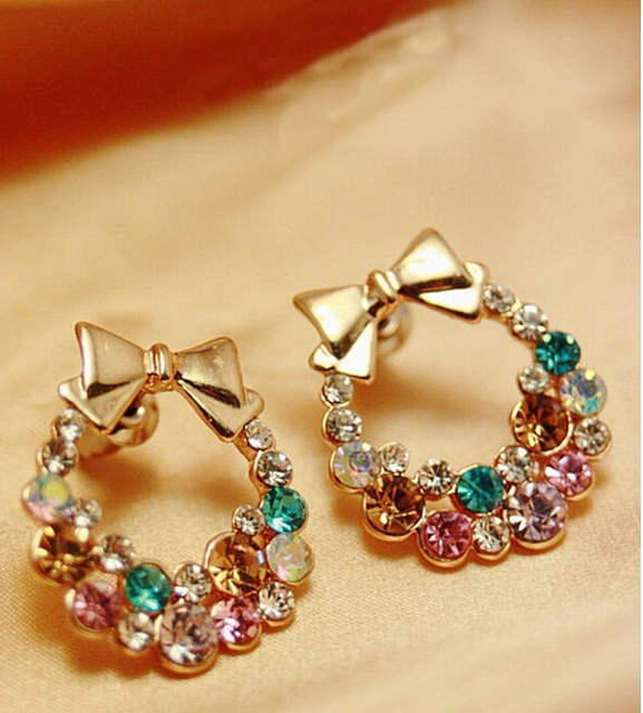 rhinestone earring exquisite crystal stud wholesale multi cuicanduomu bow colored sparkling item