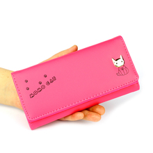 BOTUSI Female for Coins Cute Wallet Women Long Leather Thin Zipper Purses Money Bags Simple Style Card Holder Solid