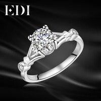 EDI Genuine Solitaire 1ct Round Cut Moissanite Diamond Ring For Women 14k 585 White Gold Wedding