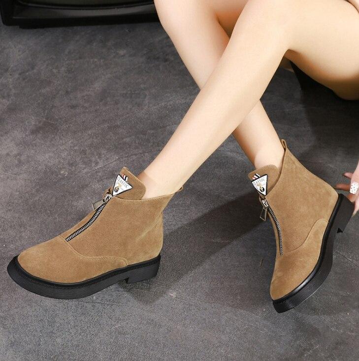 HUANQIU 2019 sonbahar/kış yeni yüksek üst artı kadife çizmeler kadın İngiliz rüzgar düz kadın ayakkabı ön fermuar çizmeler ZLL702