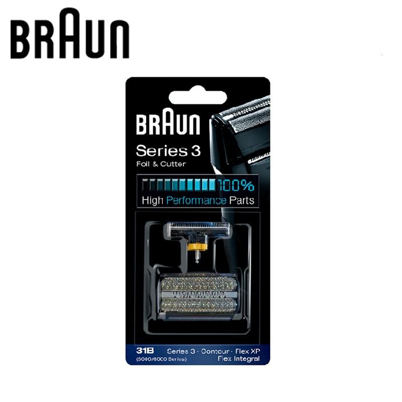 Braun Rasoir Électrique Lame Tête Remplacement 31B (5000/6000 série) pour 3 Série Rasoirs (5610 5612 vieux 350 360 370 380 390CC)