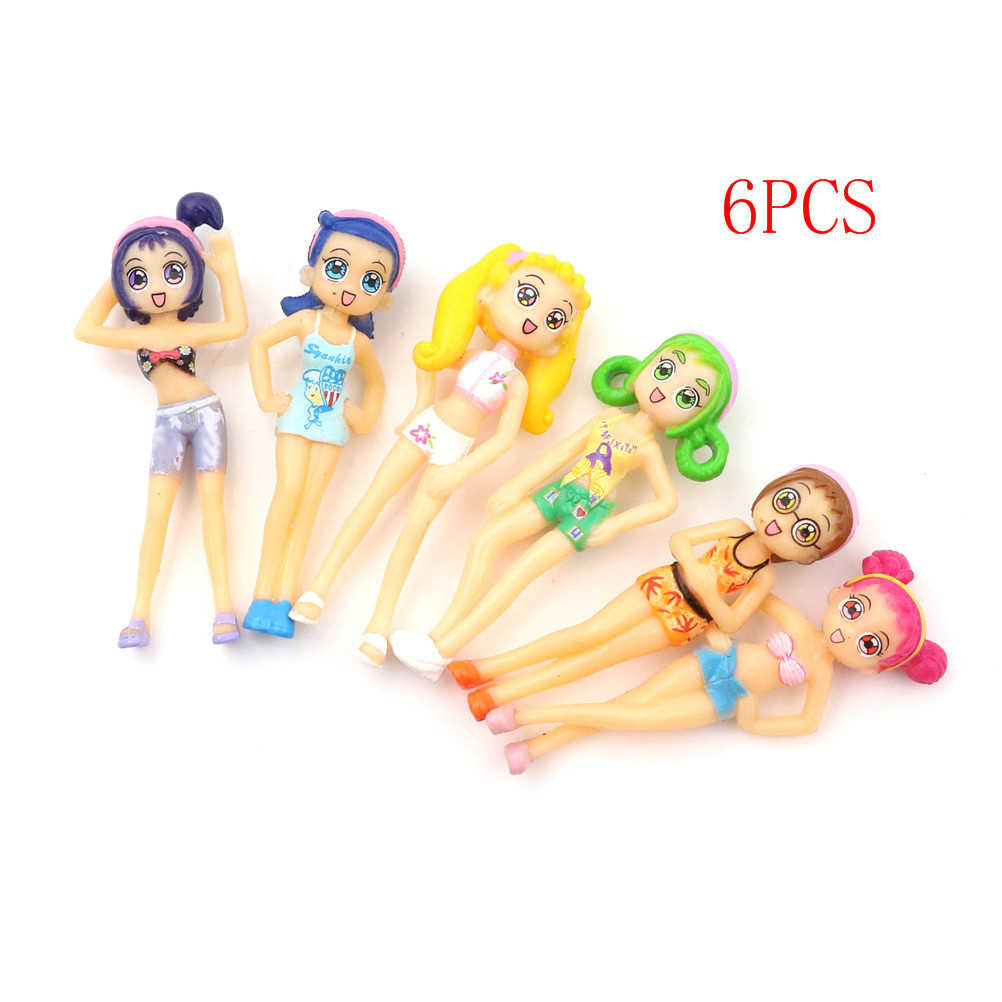 6pcs/set DIY Ornament Decoration Crafts Figurines Micro Landscape Ornament Beach Girls Fairy Miniature Figurine Dollhouse Garden